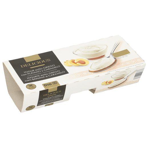 DIA DELICIOUS yogur al estilo griego con plátano y caramelo pack 2 unidades 125 gr