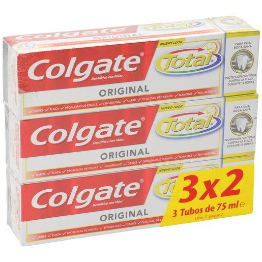 COLGATE pasta dentífrica original total tubo 3 x 75 ml