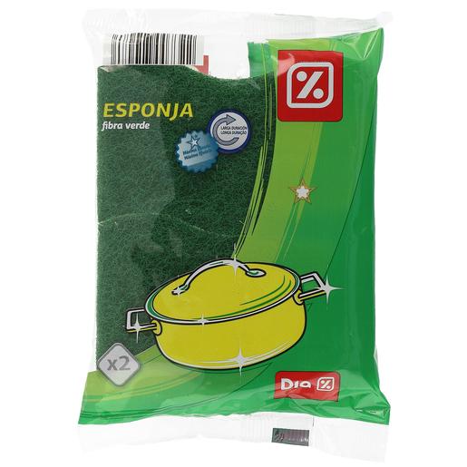 DIA estropajo fibra verde con esponja paquete 2 uds