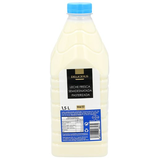 DIA DELICIOUS leche semidesnatada fresca botella 1.5 lt
