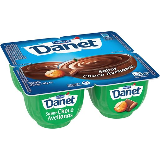 DANONE DANET crema chocolate con avellana pack4 uds 115 gr