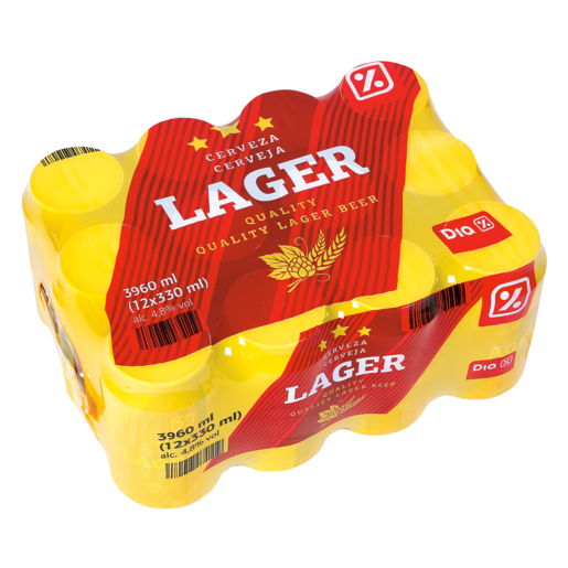 DIA cerveza rubia lager pack 12 latas 33 cl
