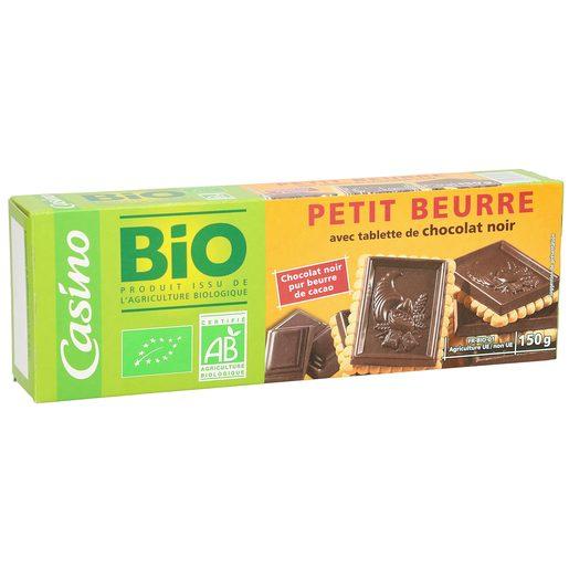 CASINO BIO galletas de mantequilla cubiertas de chocolate negro paquete 150 gr