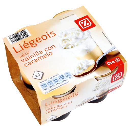 DIA crema vanilla con nata y caramelo pack 4 unidades 115 gr