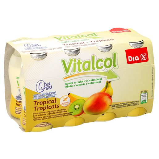 DIA yogur líquido vitalcol reduce colesterol tropical pack 8 unidades 100 ml