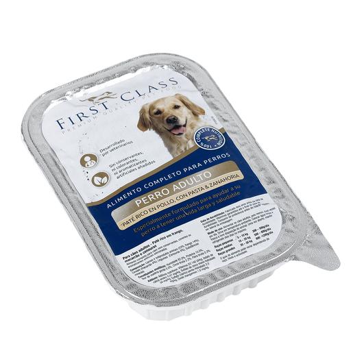 FIRST CLASS paté para perros adultos rico en pollo con pasta y zanahoria tarrina 400 gr