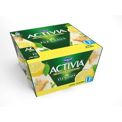 DANONE ACTIVIA bífidus infusión limón y jengibre 0% M.G pack 4 unidades 120 gr