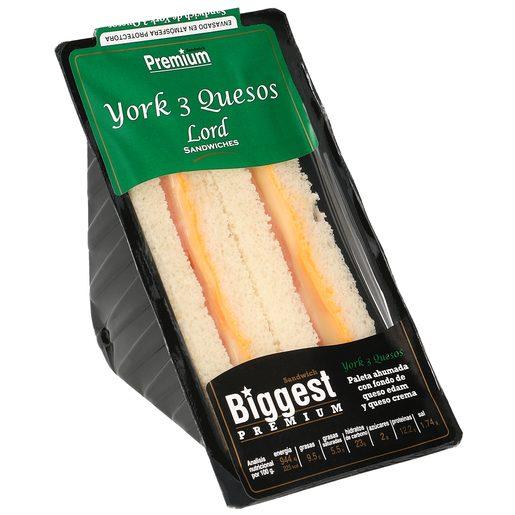 BIGGEST Premium sandwich de jamón york y 3 quesos envase 190 gr