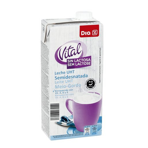 DIA VITAL leche semidesnatada sin lactosa envase 1 lt