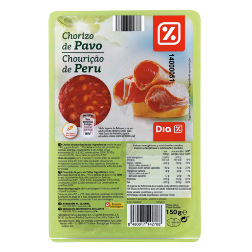 DIA chorizo de pavo lonchas envase 150 gr