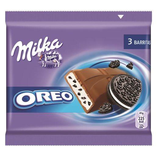 MILKA chocolatina oreo paquete 3 barritas 43 gr