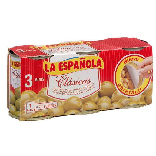 LA ESPAÑOLA aceitunas verdes rellenas de anchoas pack 3 latas 150 gr