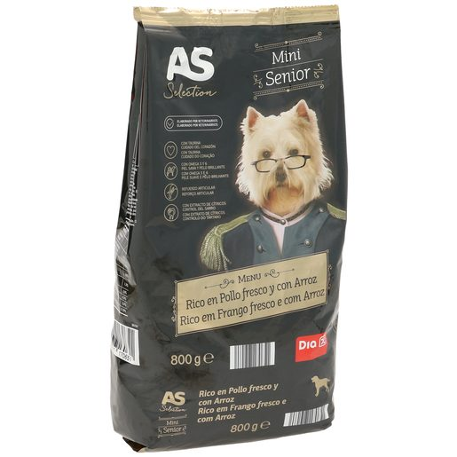 AS Selection alimento para perros mini senior rico en pollo con arroz bolsa 800 gr