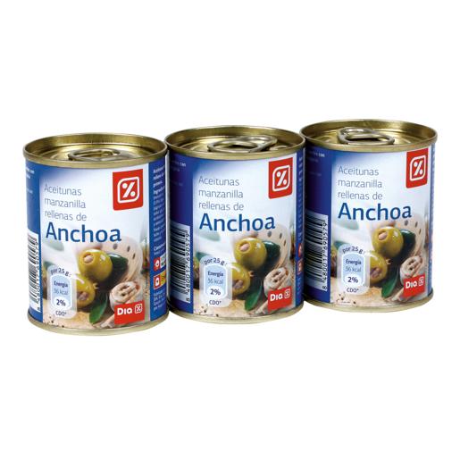 DIA aceituna rellenas de anchoas pack 3 latas 50 gr