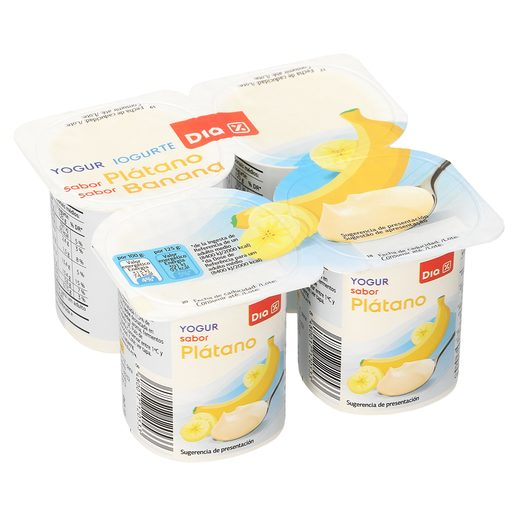 DIA yogur plátano pack 4 unidades 125 g
