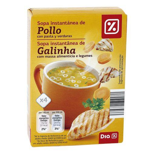 DIA sopa instantánea de pollo con pasta y verduras caja 56 gr