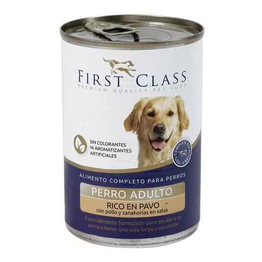 FIRST CLASS alimento para perros rico en pavo con pollo y zanahoria lata 400 gr