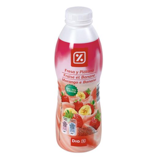 DIA yogur líquido fresa y plátano botella 750 gr