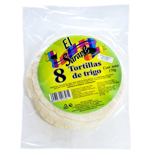 EL SARAPE tortillas de trigo bolsa 8 unidades 272 gr