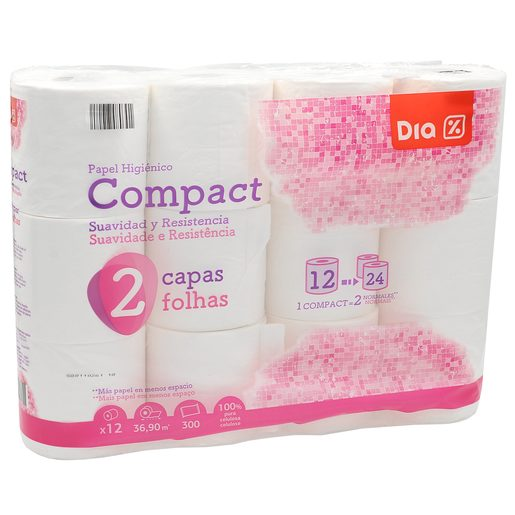 DIA papel higiénico compacto blanco 2 capas paquete 12 uds