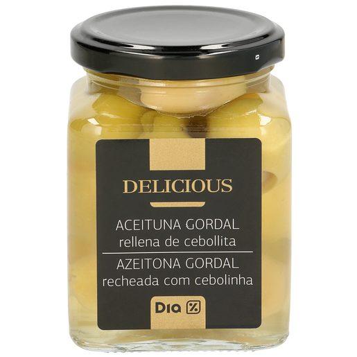 DIA DELICIOUS aceituna gordal rellena de cebollita frasco 140 gr