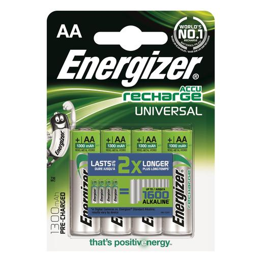 ENERGIZER pilas AA 1300 recargables blister 4 ud