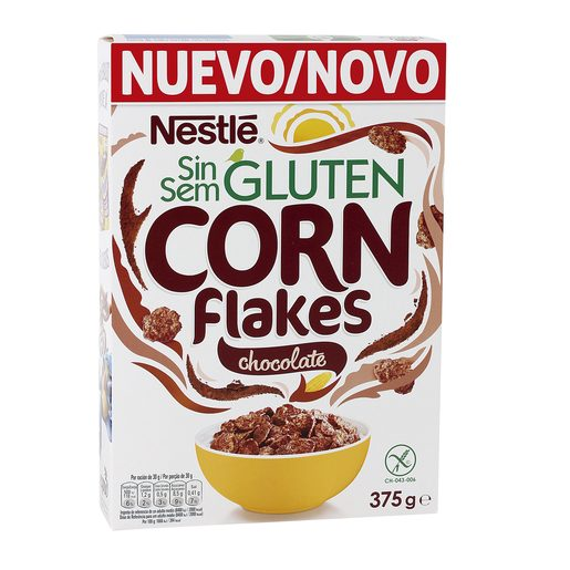 NESTLE cereales corn flakes chocolate SIN GLUTEN caja 375 gr