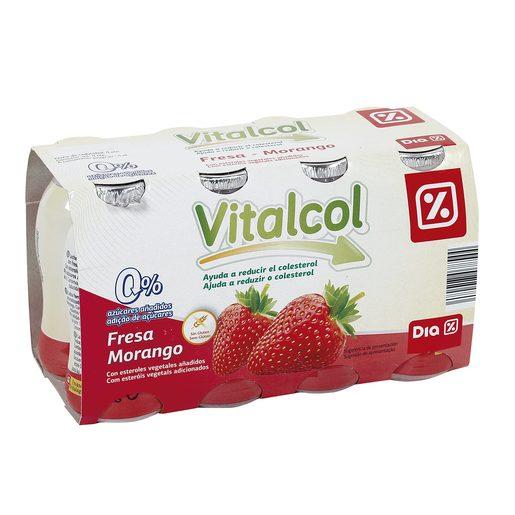 DIA VITAL yogur líquido reduce colesterol fresa pack 8 unidades 100 ml