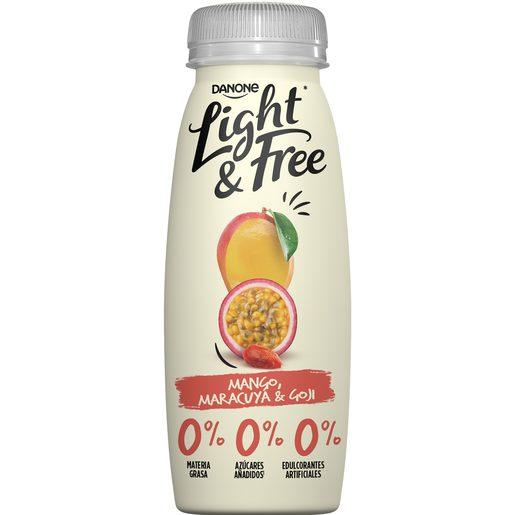 DANONE Light&free yogur líquido con mango, maracuya y goji 0% M.G. botella 241 ml