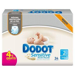 DODOT Sensitive pañales recién nacido 4-8 kgs talla 2 paquete 34 uds