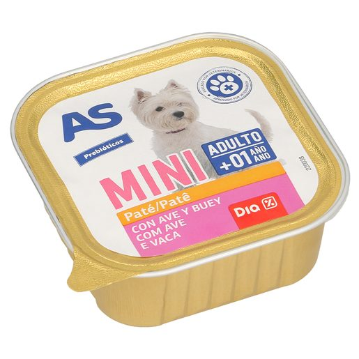 AS paté para perros mini adulto con ternera y ave tarrina 150 gr
