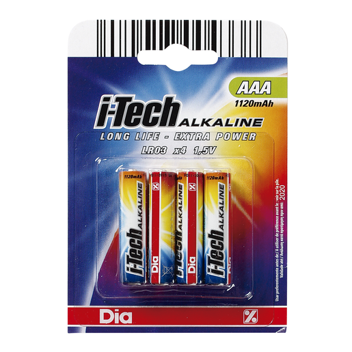DIA pilas AAA i-tech alkaline pack 4 ud