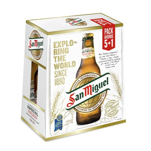 SAN MIGUEL cerveza rubia nacional pack 6 botellas 25 cl