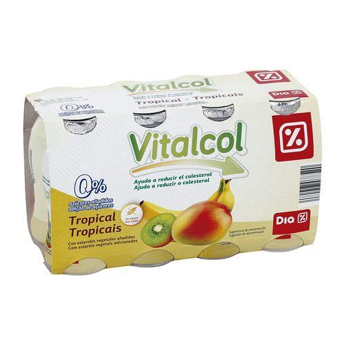 DIA VITAL yogur líquido reduce colesterol tropical pack 8 unidades 100 ml