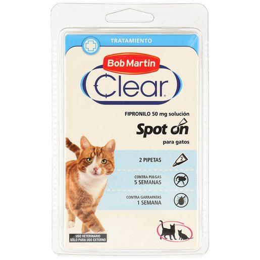 BOB MARTIN Clear pipeta tratamiento para gatos anti pulgas y garrapatas 2 uds