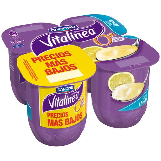 DANONE VITALINEA yogur desnatado sabor limón pack 4 unidades 125 gr