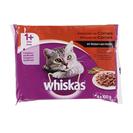 WHISKAS alimento para gatos en salsa selección de carnes bolsa 4 x 100 gr