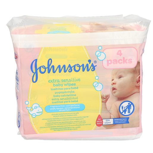 JOHNSON'S toallitas para bebés extra sensitive envase 224 uds