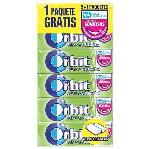ORBIT chicle grageas sabor a solidaridad paquete 5 uds
