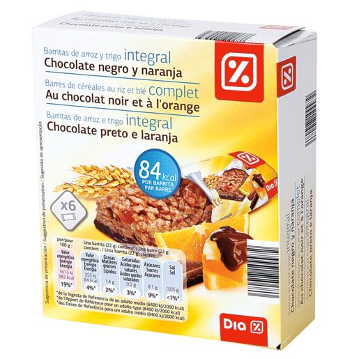 DIA barritas cereales chocolate y naranja caja 6 uds 132 gr
