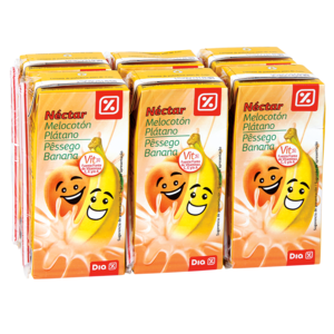 DIA Kids néctar melocotón y plátano pack 6 unidades 200 ml