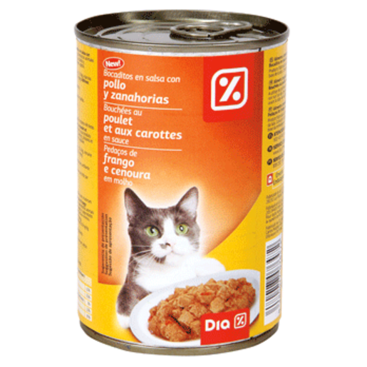 DIA alimento  para gatos bocaditos pollo y legumbres lata 400 gr