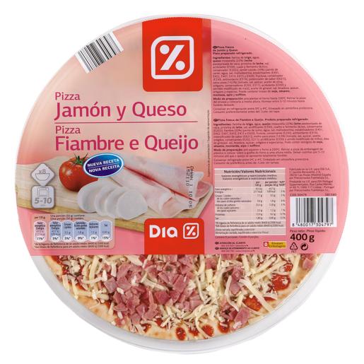 DIA pizza jamón y queso envase 400 gr