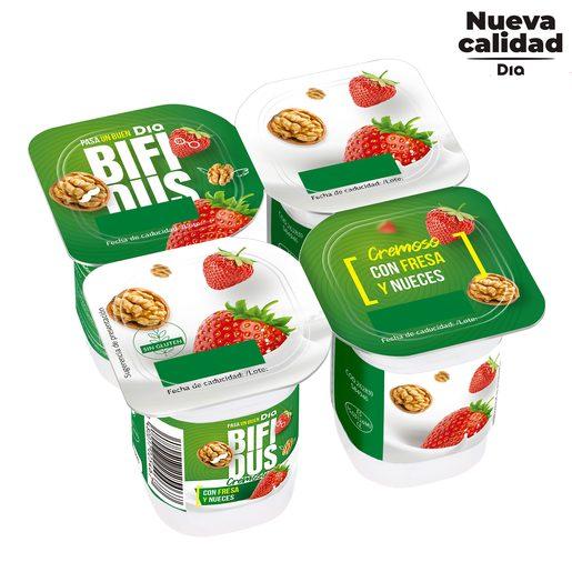 DIA BíFIDUS cremoso con fresa y nueces pack 4 unidades 125 gr