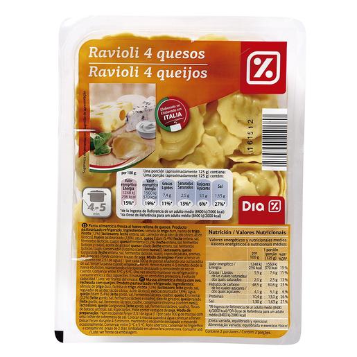 DIA raviolis 4 quesos bandeja 250 gr