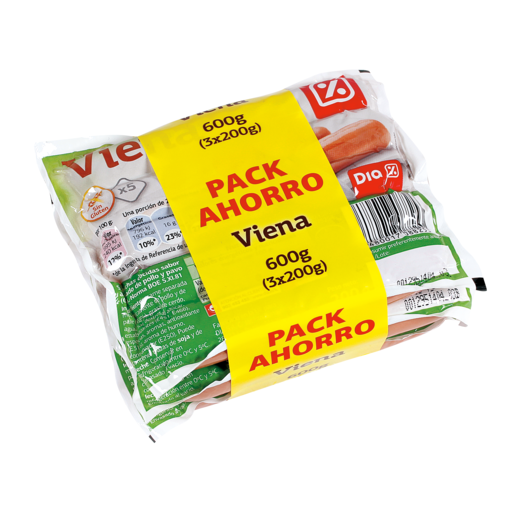 DIA salchichas Viena clásica en200 grs envase multipack 3x200 g