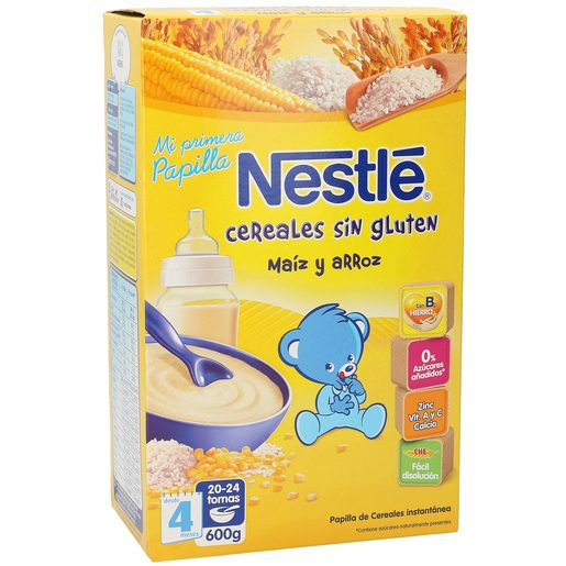 NESTLE papilla de cereales sin gluten maíz y arroz caja 600 gr
