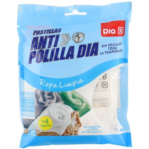 DIA pastillas antipolillas aroma ropa limpia bolsa 24 uds