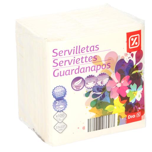 DIA servilletas blancas 2 capas 22x22 cm paquete 100 uds