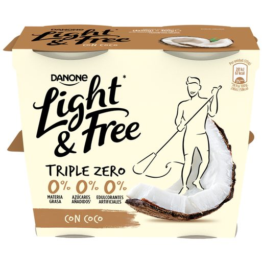 DANONE Light&free yogur con coco 0% M.G. pack 4 unidades 115 gr